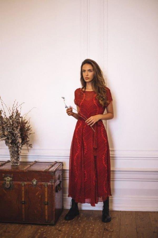 Short Sleeves Midi Dress Baru Red