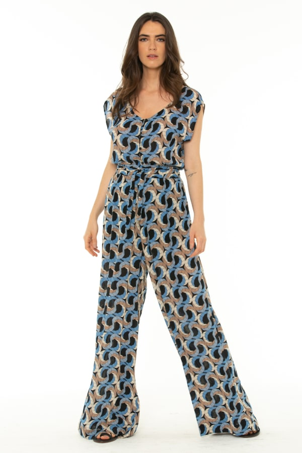 Short Sleeve Jumpsuit Escher Dark Blue - Escher Dark Blue - Front