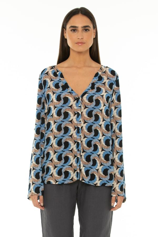Long Sleeve Blouse Escher Dark Blue