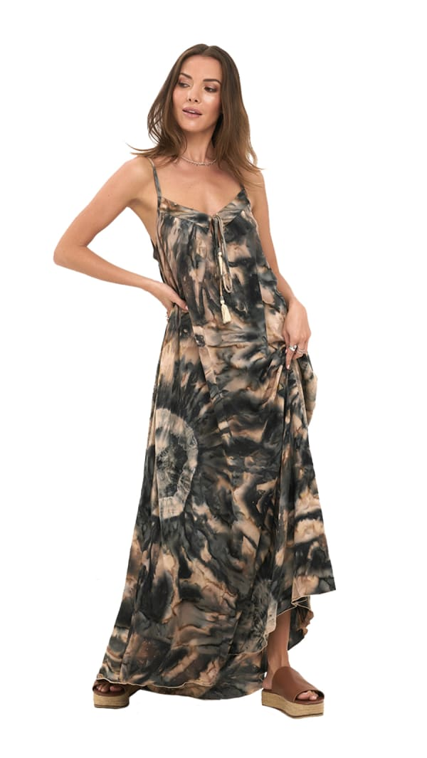 Alohi Dress - Tie Dye-Kahlua - Front