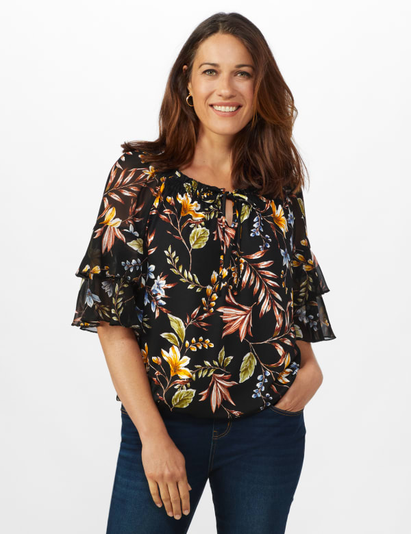 Novelty Sleeve Floral Peasant Knit Top -Black/Gold/Green - Front