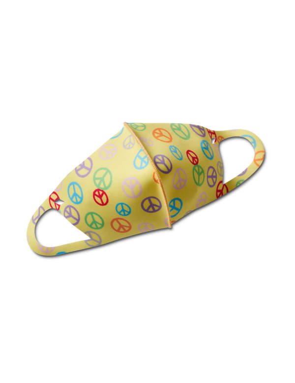 Kids' Peace Signs Anti-Bacterial Fashion Face Mask - Yellow Multi - Front