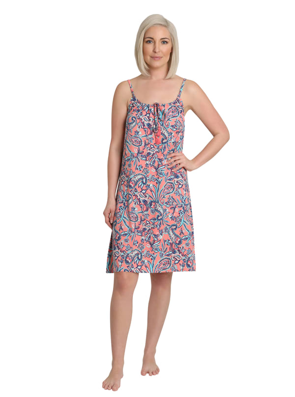 Caribbean Joe Coral Paisley Sleepwear Chemise - Coral - Front