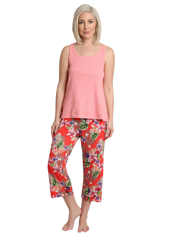 Caribbean Joe Tropical Parrot Tank & Pant Sleepwear Set - Red - Front