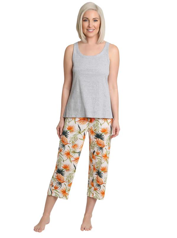 Caribbean Joe Palm Tank & Pant Sleepwear Set - Multi - Front