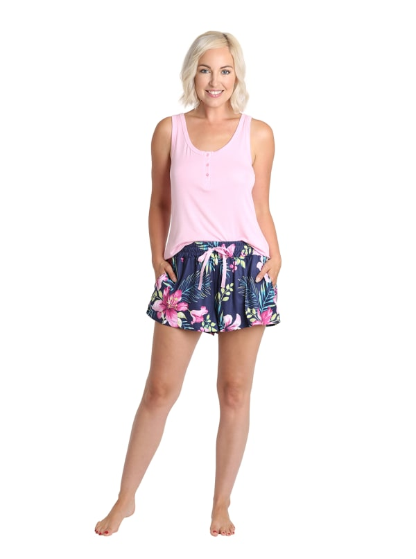 Caribbean Joe Tropical Tank & Short Sleepwear Set -Pink/Navy - Front