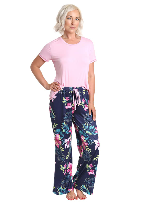 Caribbean Joe Tropical Tee & Pant Sleepwear Set - Pink/Navy - Front