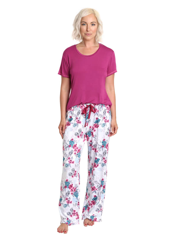Caribbean Joe Leopard Floral Tee & Pant Sleepwear Set - Berry Multi - Front