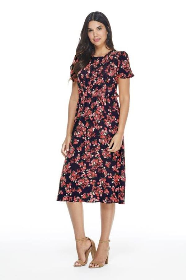 Jamie Ditsy Floral A-Line Dress - Navy/Red - Front