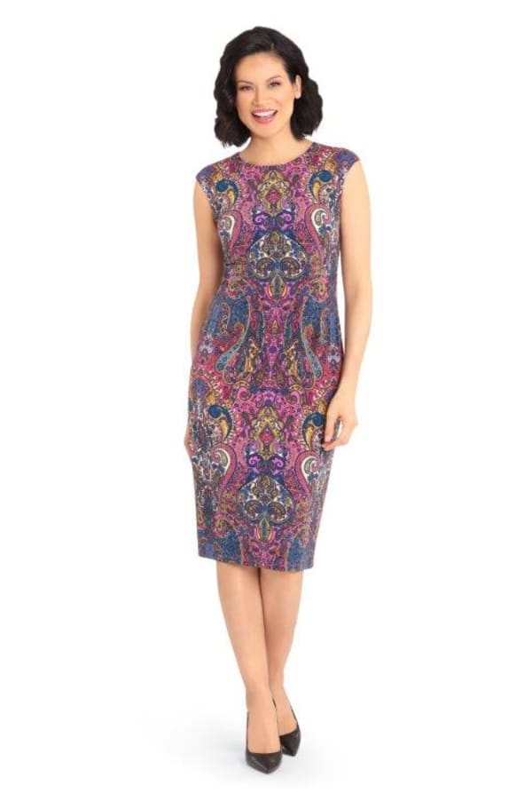 Scroll Sheath Dress - purple multi - Front