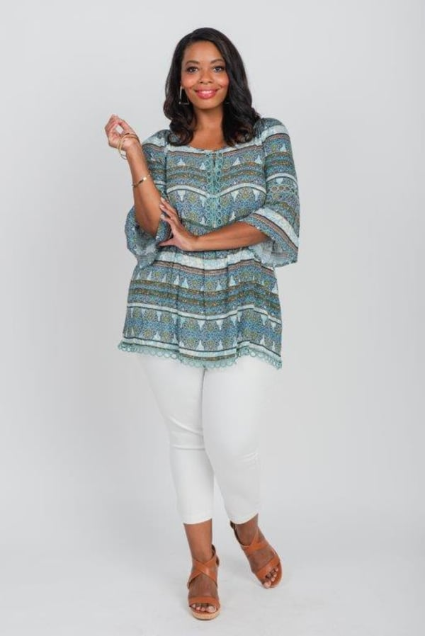 Wakeful Moment Blouse Tunic - Plus - Blue - Front