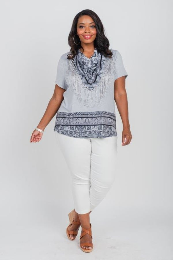 Yarrow Encounter Knit Tee & Matching Scarf - Plus - Grey - Front