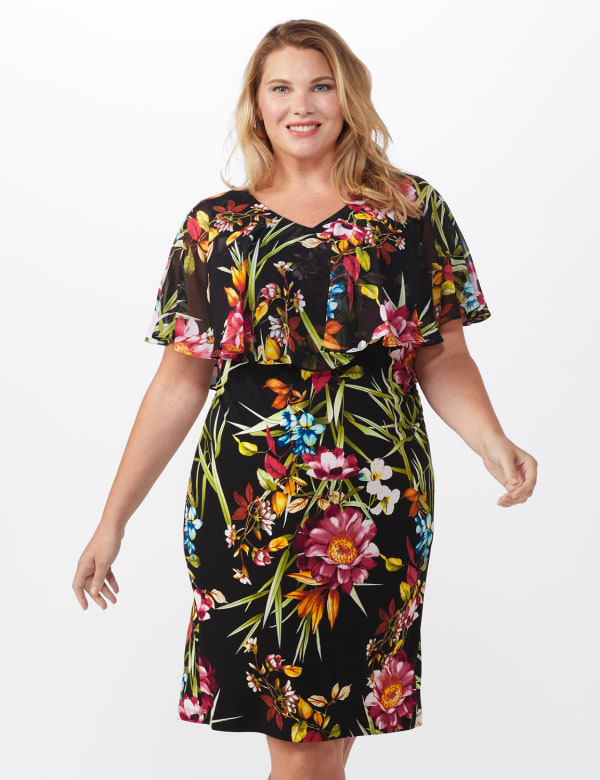 Amy Tropical Floral Dress - Plus - Black - Front