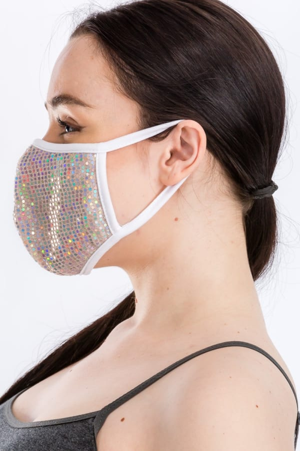 Glitter Printed Fashion Face Mask - Nude - Front
