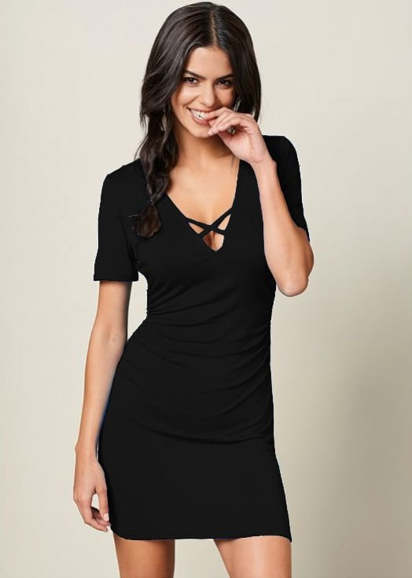 Ruched Side Midi Dress With Criss-Cross Detail - Black - Front