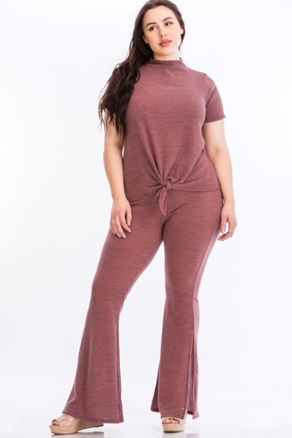 Tie Top And Split Bell Pant Lounge Set - Mauve - Front