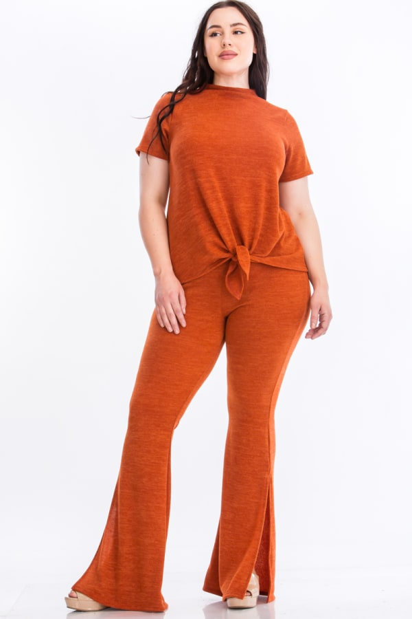 Tie Top And Split Bell Pant Lounge Set - Rust - Front