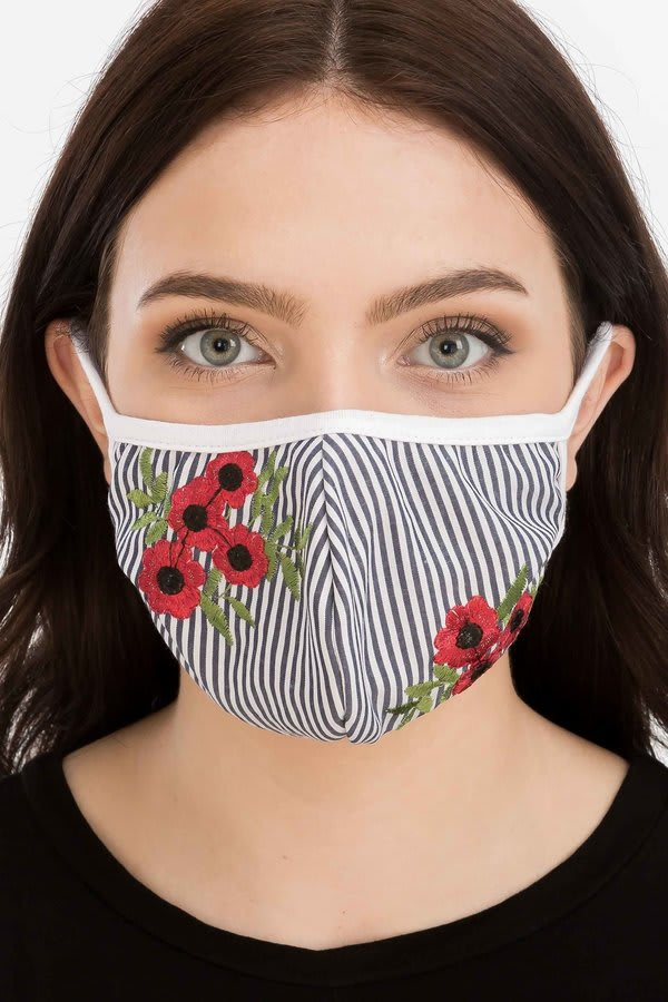 Floral Embroidered Fashion Face Mask