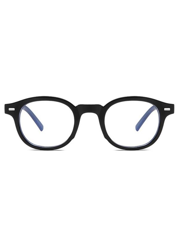 Vintage Square Glasses - Black - Front