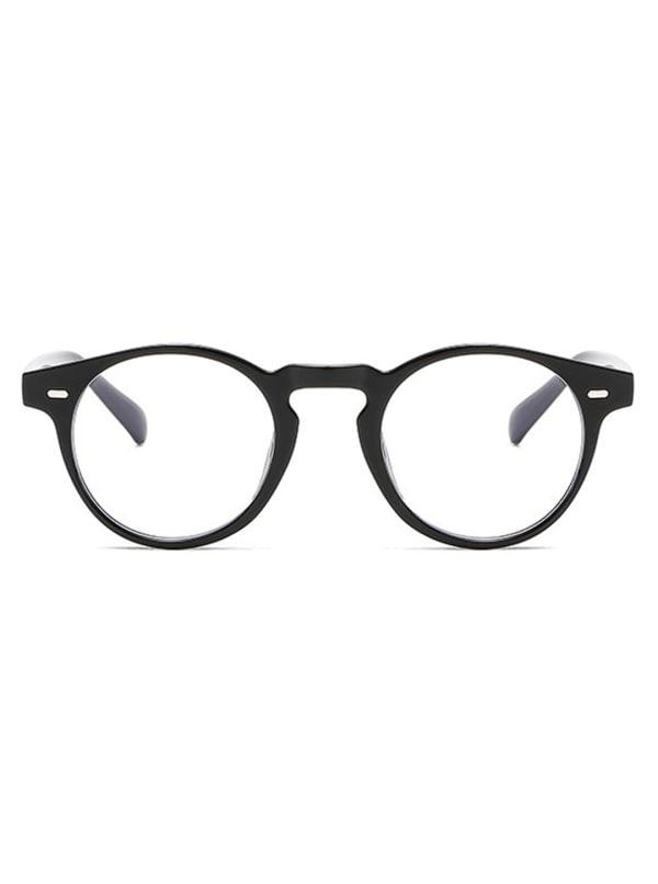 Vintage Round Glasses - Black - Front
