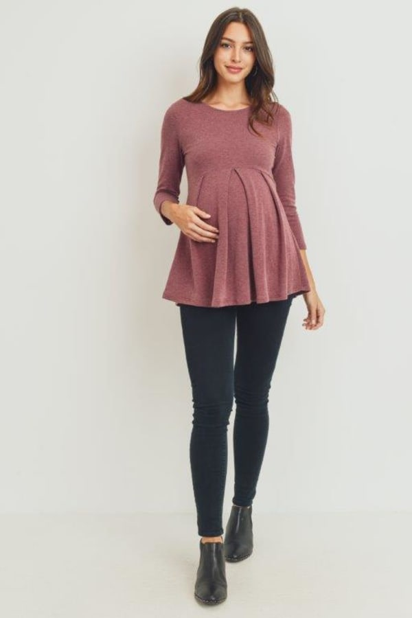 Empire Waist Maternity Top - Burgundy - Front