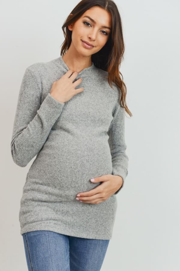 Little Momma's Ribbed Bodycon Top - Heather-Grey - Front