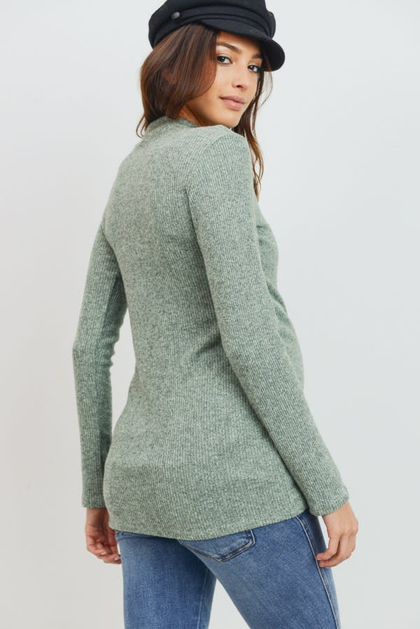 Little Momma's Ribbed Bodycon Top - Mint - Front