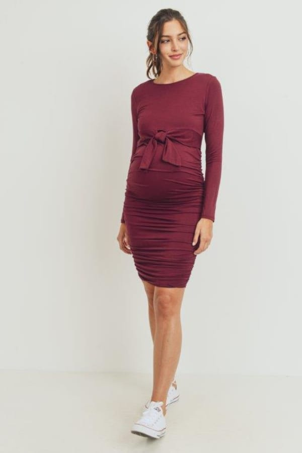 Little Momma's Scrunched Evening Front Tie Dress - Burgundy - Front