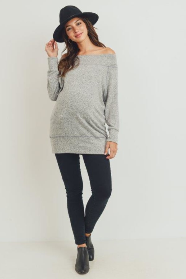 Little Momma's Off-Shoulder Tunic - Heather-Grey - Front