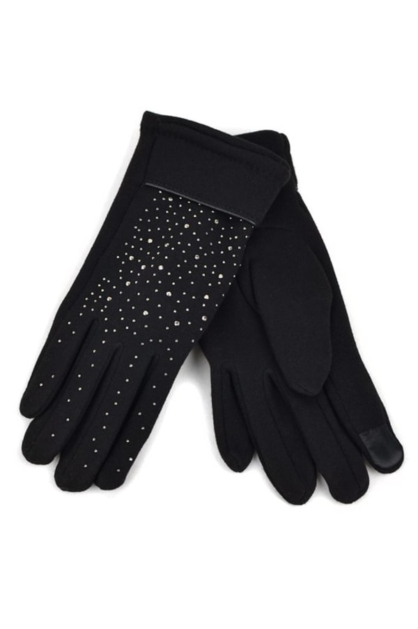 Starry Night Touch Screen Gloves - Black - Front