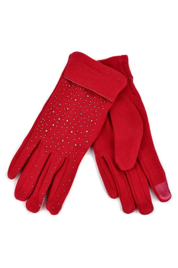 Starry Night Touch Screen Gloves -Red - Front