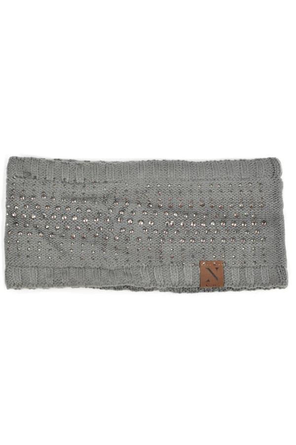 Studded Fleece Lined Winter Headband - Charcoal - Front