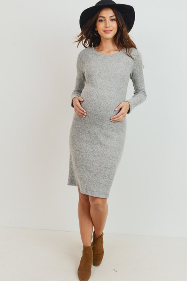 Little Momma's Round Neck Ribbed Dress - Heather gray - Front