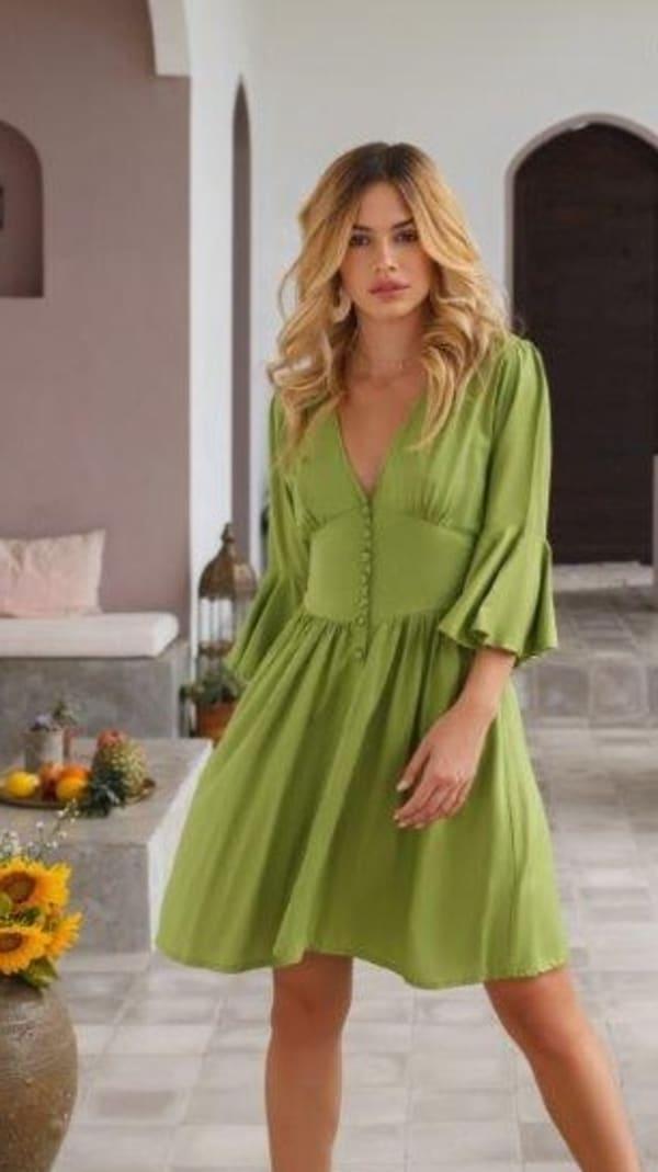 Melrose Dress - Greek olive - Front
