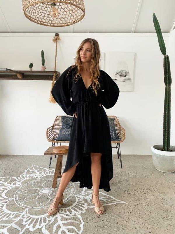 Linda Dress - Black - Front