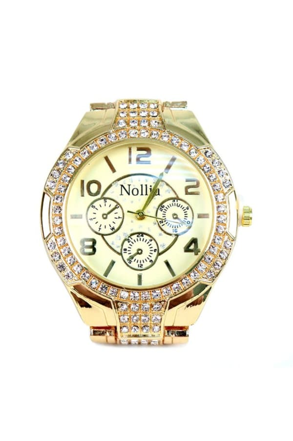 Gold-Tone Watch with Stones - Gold - Front