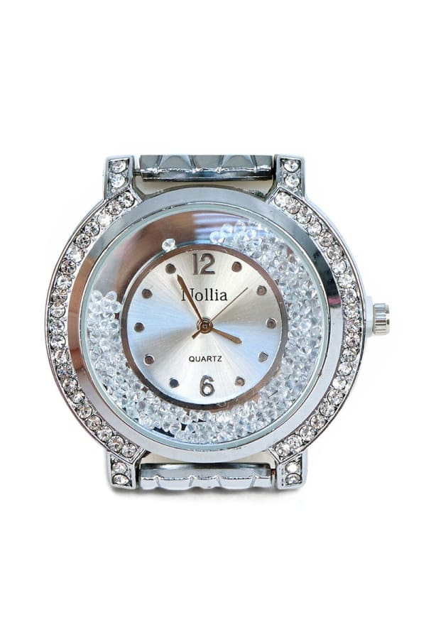 Silver-Tone Bracelet Watch with Stones