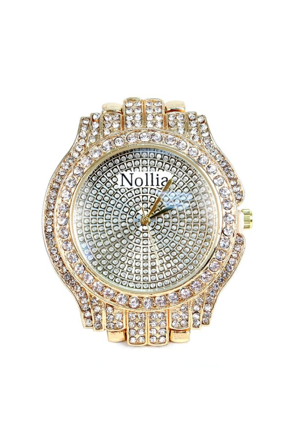 Classy Gold-Tone Bedazzled Watch - Gold - Front