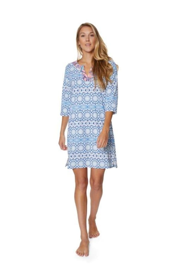 Caribbean Joe Medallion Yoke Neck Dress - Misses - Blue - Front