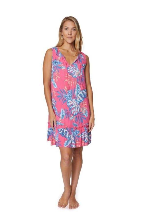 Caribbean Joe Floral Crinkle Gauze Dress - Misses - Pink - Front