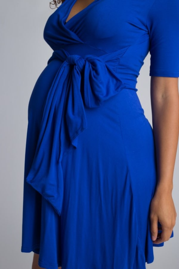Ultra-Femme Maternity V-Neck Dress - Royal Blue - Front
