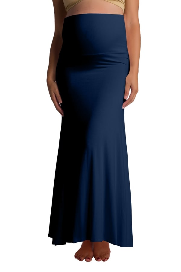 Ultra-Soft Maternity Fold-Over Skirt - Navy - Front