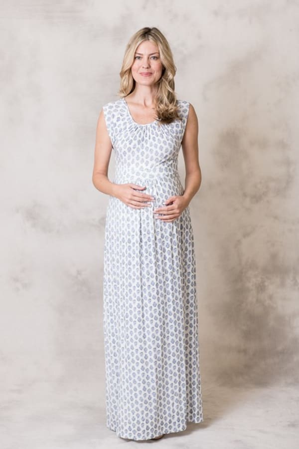 Rayon Maxi Dress - Light Sage / Blue - Front