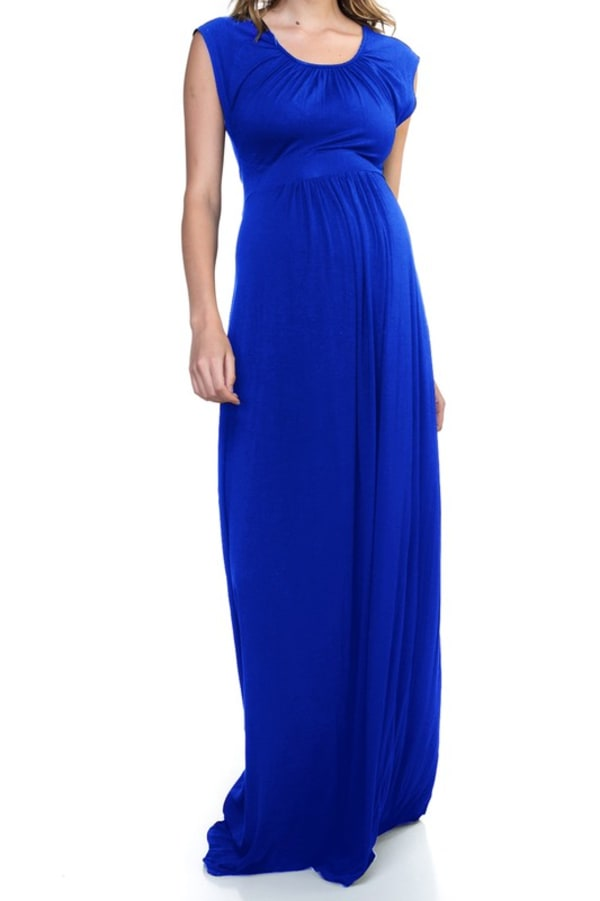 Rayon Maxi Dress - Royal Blue - Front