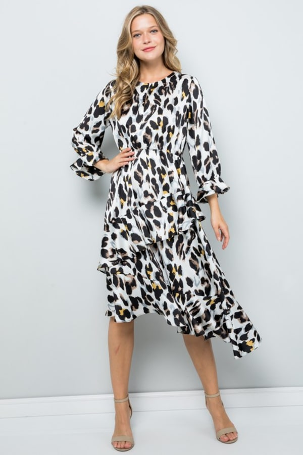 Asymmetric Leopard Print Dress with Ruffle Detailing - Cream - Front