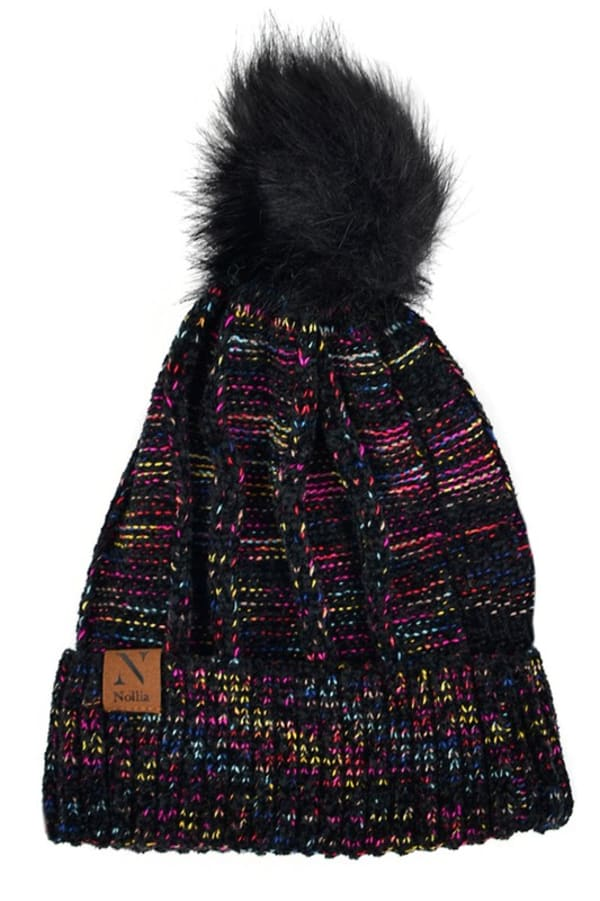 Extra Soft Novelty Knit Winter Hat - Black - Front