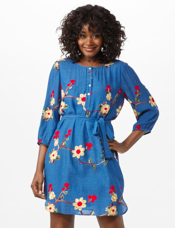 Scoop Neck With Embroidery Self Fabric Belted Dress - Chambray - Front