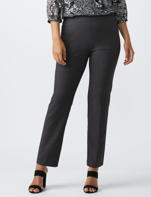 Roz & Ali Secret Agent  Pull on Tummy Control Pants with L Pockets - Average - Grey - Front