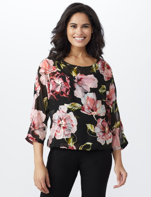 Floral Bubble Hem Blouse with Foil -Black/Rose - Front