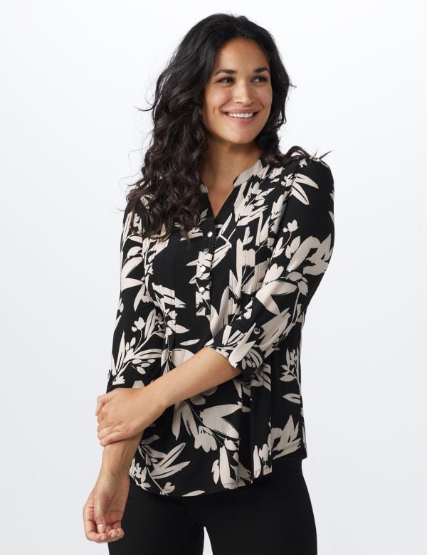 Neutral Vine Floral Knit Popover - Misses - Black-Buff - Front